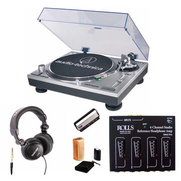 Audio Technica AT-LP120-USB Turntable with Rolls Headphone Amplifier Bundle