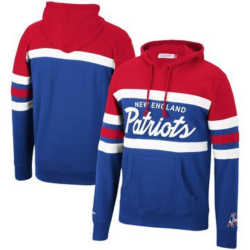 Men's Mitchell & Ness Red New England Patriots Head Coach Pullover Hoodie