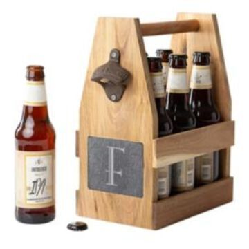 Cathy's Concepts Personalized Acacia Slate Beer Carrier with Magnet and Bottle Opener