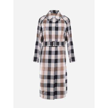 Max Mara Cotton Trench Coat With Macro Check Pattern