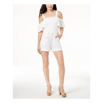XOXO Womens Ivory Cold Shoulder Square Neck Romper Size: M