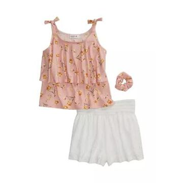 Beautees Girls' Girls 7-16 2 Piece Sleeveless Print Top And Eyelet Shorts Set - -