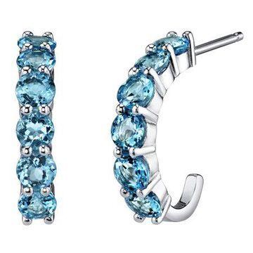 Sterling Silver 2.75 Carats Swiss Blue Topaz J-Hoop Earrings