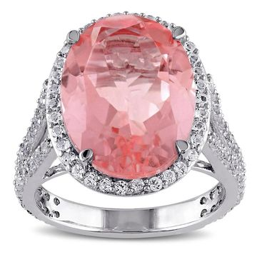 Miadora Sterling Silver Pink Doublet and White Topaz Halo Cocktail Ring