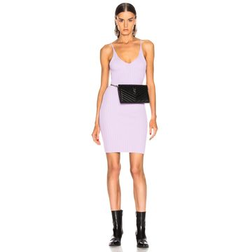 T by Alexander Wang Shrunken Rib Fitted Tank Dress in Lavender | FWRD