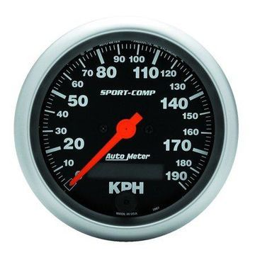 AutoMeter 3987-M Sport-Comp Electric Metric Speedo; 3-3/8 in.; Black Dial Face; Fluorescent Red Pointer; White Incandescent Lighting; Electric Air-Core; 0-190 KM/H;