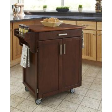 Home Styles Cuisine Cart Cherry Finish with Oak Top