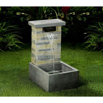Jeco Stone Finish Polyresin/Fiberglass Water Fall Fountain with LED Light