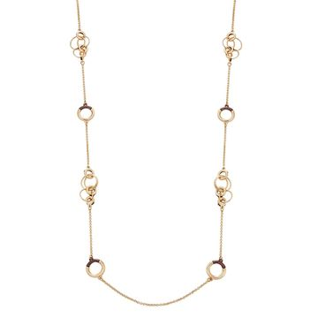 Women's Dana Buchman 36-in. Stationed Strand Necklace - Gold & Brown Gold