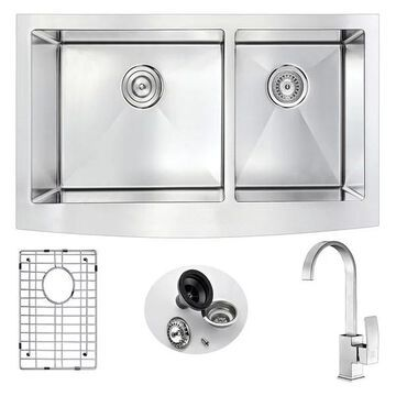 ANZZI Elysian Farmhouse 36 In. Double Bowl Kitchen Sink w/ Opus Faucet