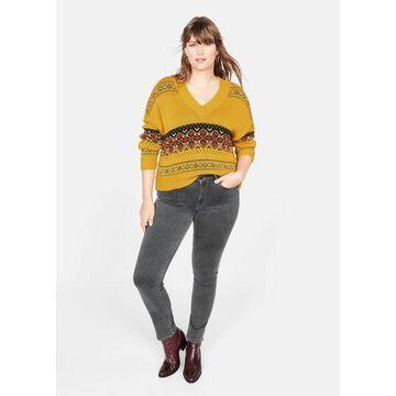 Violeta BY MANGO - Geometric jacquard sweater yellow - L - Plus sizes