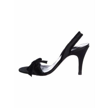 Bow Accents Slingback Sandals Black