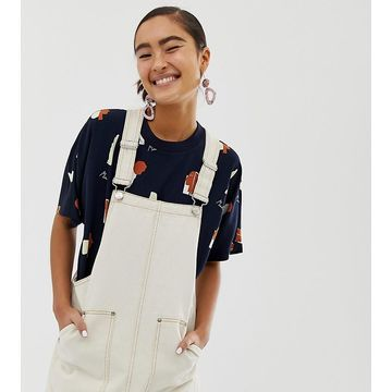 Monki overall dress in cream with contrast stitching