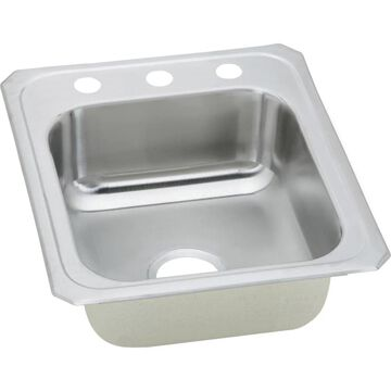 Elkay Celebrity Drop-In 17-in x 21.25-in Brushed Satin Single Bowl 1-Hole Kitchen Sink Stainless Steel   CR17211