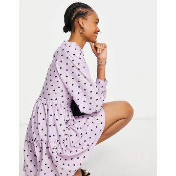 Closet London volume sleeve tiered smock mini dress in lavender heart print-Purple