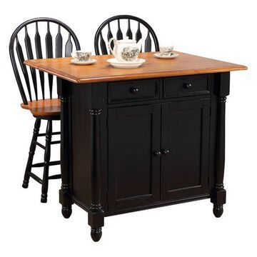 Sunset Trading Kitchen Island With 2 Swivel Stools, Antique Black and Cherry