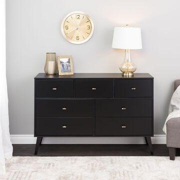 Prepac Milo Mid Century Modern 7-Drawer Dresser, Black