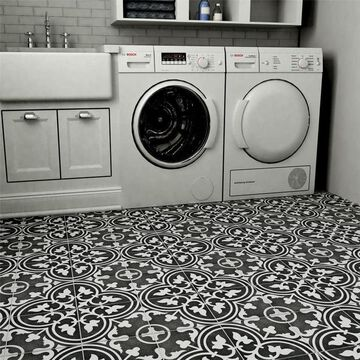 SomerTile 7.875x7.875-inch Cement Art Coal Cement Floor and Wall Tile (12 tiles/5.5 sqft.)