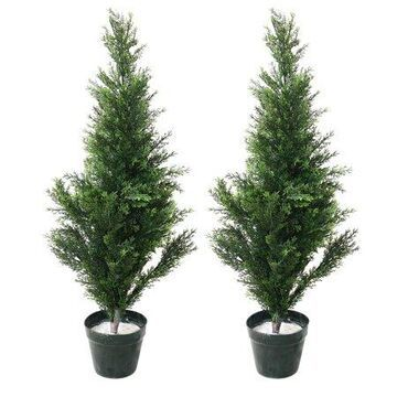 34 Inch Artificial Cedar Large Faux Potted Evergreen Plant for Indoor or Outdoor Decoration at Home or Office by Pure Garden (Set of 2)