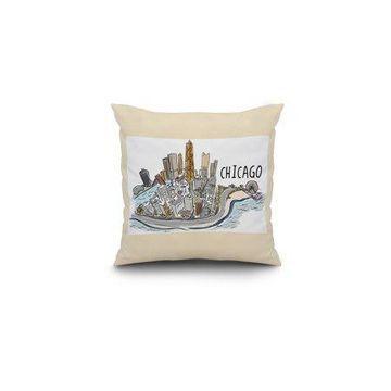 Chicago, Illinois - Cityscape - Line Drawing - Lantern Press Artwork (16x16 Spun Polyester Pillow, White Border)