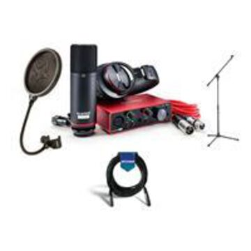 Focusrite Scarlett Solo Studio 2x2 USB Audio Interface with Microphone Headphones - Bundle With Samson MK10 Lightweight Boom Mic Stand, Samson PS04 Pop Filter, 20' XLR Mic Cable