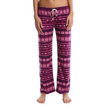 Nomad Women's Sleep Bottoms Purple - Purple Snowflake Fleece Pajama Pants - Women & Plus