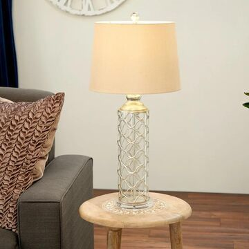 Set of 2 Contemporary Latticed Gray Table Lamps by Studio 350