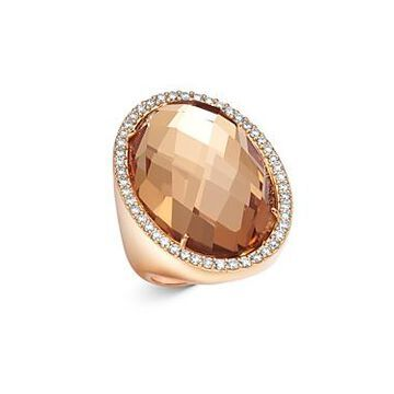 Roberto Coin 18K Rose Gold Rock Crystal Cocktail Ring with Diamonds