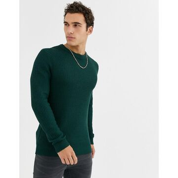 Jack & Jones Originals textured crew neck knitted sweater in green