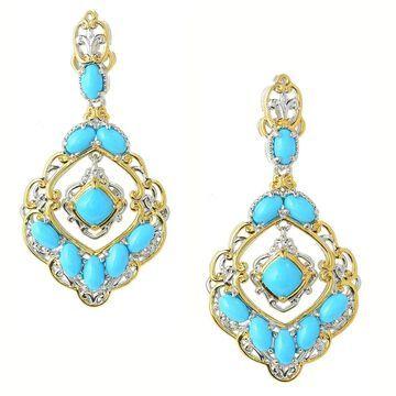 Michael Valitutti Palladium Silver Blue Crown Turquoise Dangle Earrings