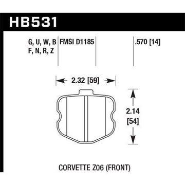Hawk 06-10 Chevy Corvette (OEM Pad Design) Front HP+ Sreet Brake Pads