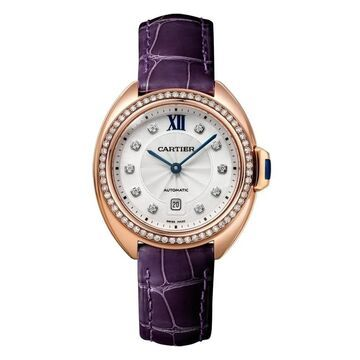Cartier Women's WJCL0038 'Cle De Cartier' Diamond Purple Leather Watch