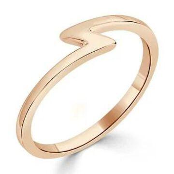 Auriya Women's Petite Ultra-Thin Stackable Lightning Bolt 10k Gold Ring (Rose - 7)