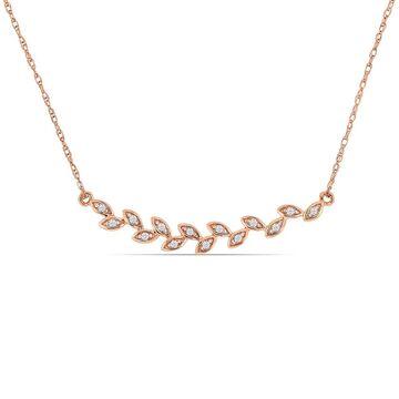 Miadora 10k Rose Gold Diamond Stationed Bar Leaf Necklace