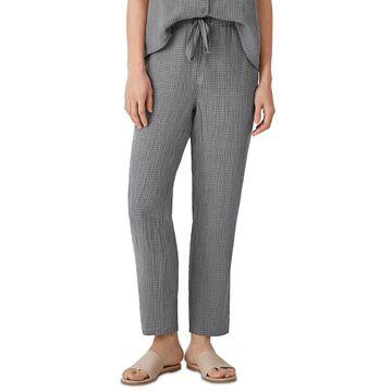 Eileen Fisher Linen Checked Drawstring Ankle Pants, Regular & Petite