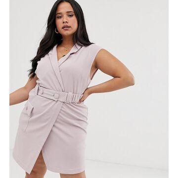 ASOS DESIGN Curve utility tux belted mini dress
