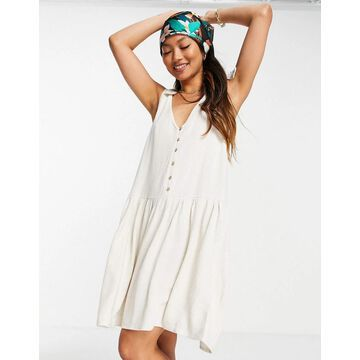 Y.A.S V-neck swing dress in cream-White
