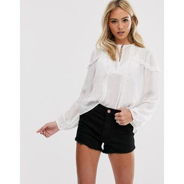 Miss Selfridge blouse with frills in cream