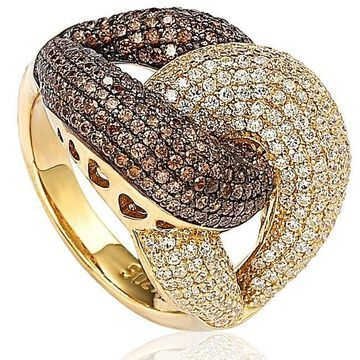Suzy Levian Goldplated Sterling Silver Brown Cubic Zirconia Anniversary Ring