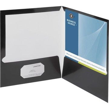 Business Source, BSN44425, Laminated Cover 2-pocket Portfolio, 25 / Box, Black