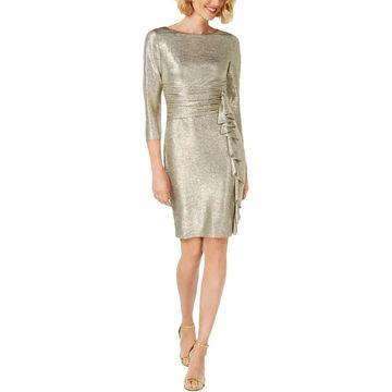 Jessica Howard Womens Cocktail Dress Metallic Ruffled