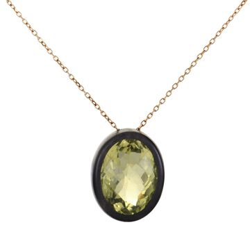 Roberto Coin Ipanema Rose Gold Lemon Quartz and Black Wood Oval Pendant Necklace