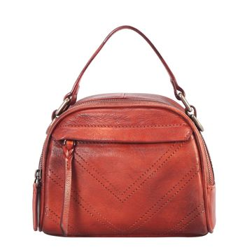 Diophy Genuine Leather Half-moon Small Top Handle Handbag