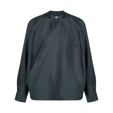 wrap-front cotton blouse