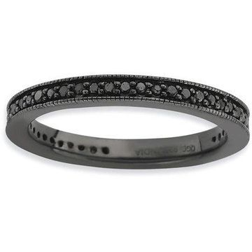 Black Diamond Sterling Silver Polished Ring