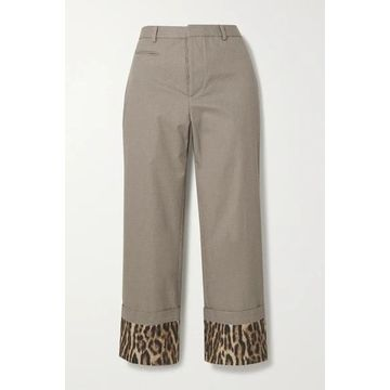 R13 - Silk Satin-trimmed Houndstooth Cotton Straight-leg Pants - Gray