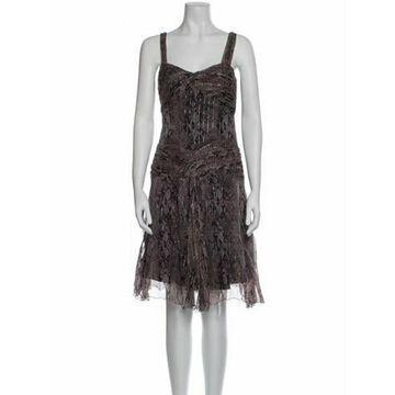 Silk Knee-Length Dress Purple