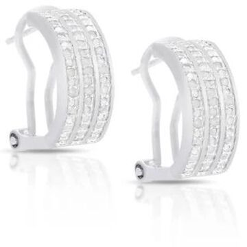 Finesque Sterling Silver or Gold Over Silver 1/2 ct TDW Diamond Hoop Earrings (Sterling Silver - White)