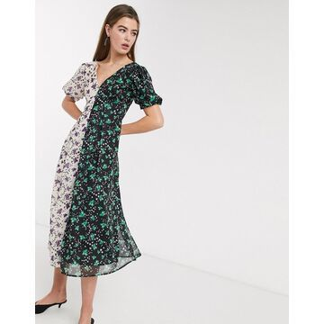 Lost Ink midi tea dress with back detail in mixed floral prints-Multi