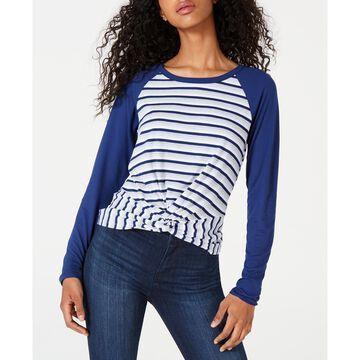 Junior's Twist-Hem Raglan-Sleeve T-Shirt